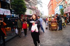 Shenzhen, China: stalls on pedestrian street, sale of handicrafts and other commodities. The Spring Festival is near, Xixiang pedestrian street stalls the royalty free stock photos