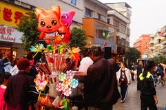 Shenzhen, China: stalls on pedestrian street, sale of handicrafts and other commodities. The Spring Festival is near, Xixiang pedestrian street stalls the stock photo