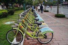 Shenzhen, China: street bike rental Royalty Free Stock Photo