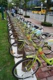 Shenzhen, China: street bike rental Royalty Free Stock Images