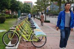 Shenzhen, China: street bike rental Stock Photography