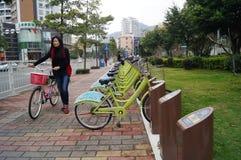 Shenzhen, China: street bike rental Royalty Free Stock Image