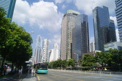 Shenzhen, China: Street and city construction. Shenzhen, Futian District, Shennan Avenue and city landscape architecture Royalty Free Stock Photos