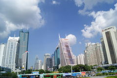 Shenzhen, China: Street and city construction Royalty Free Stock Images