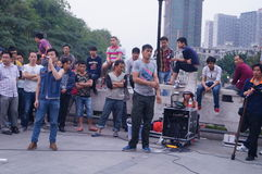 Shenzhen, China: street performances to beg Royalty Free Stock Image