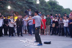 Shenzhen, China: street performances to beg Royalty Free Stock Photo