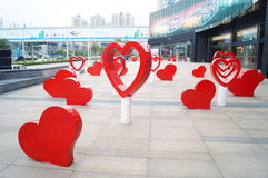 Shenzhen, China: street sculpture landscape Royalty Free Stock Photography