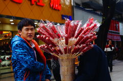 Shenzhen, China: Street sell candied fruit Stock Photos