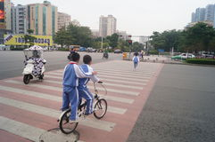 Shenzhen, China: Student Cycling Royalty Free Stock Photo