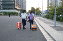 Shenzhen, China: students go on the way to school Stock Photography
