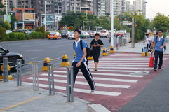 Shenzhen, China: students go on the way to school Stock Images