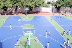 Shenzhen china: students are playing basketball Stock Photography