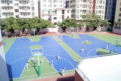 Shenzhen china: students are playing basketball Stock Photos