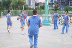 Shenzhen, China: the students are playing basketball Royalty Free Stock Photos