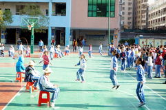 Shenzhen, China: Students skipping game Royalty Free Stock Photos