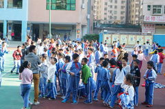 Shenzhen, China: Students skipping game Royalty Free Stock Photo