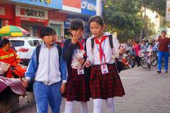Shenzhen, China: students walk home after school Stock Photography