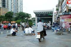 Shenzhen, China: subway entrance landscape Royalty Free Stock Photography