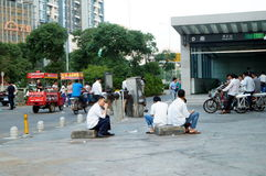 Shenzhen, China: subway entrance landscape Royalty Free Stock Images