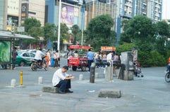 Shenzhen, China: subway entrance landscape Stock Photo