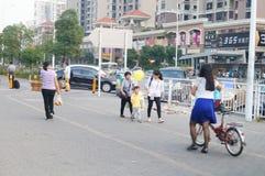 Shenzhen, China: subway entrance landscape Stock Photography