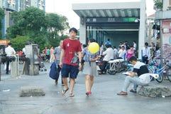 Shenzhen, China: subway entrance landscape Stock Photos