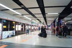 Shenzhen, China: subway station Stock Photos