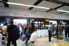 Shenzhen, China: subway station Royalty Free Stock Photos