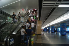 Shenzhen, China: subway station landscape Stock Images