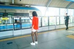 Shenzhen, China: subway traffic Royalty Free Stock Image