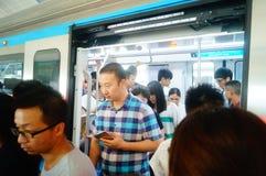 Shenzhen, China: subway traffic Stock Photo