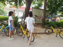 Shenzhen, China: summer vacation, female students Royalty Free Stock Images