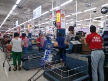 Shenzhen, China: supermarket checkout landscape Stock Images