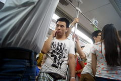 Shenzhen china: take the subway people come home from work Stock Photos