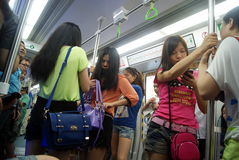 Shenzhen china: take the subway people come home from work Stock Images