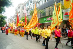 Shenzhen, China: temple festival parade, lion dance activities Royalty Free Stock Photo