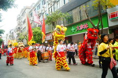 Shenzhen, China: temple festival parade, lion dance activities Royalty Free Stock Photos