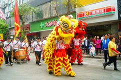 Shenzhen, China: temple festival parade, lion dance activities Stock Image