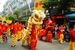 Shenzhen, China: temple festival parade, lion dance activities Royalty Free Stock Image