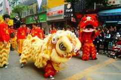 Shenzhen, China: temple festival parade, lion dance activities Royalty Free Stock Images