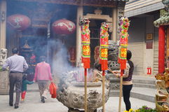 Shenzhen, China: the temple to burn incense to worship Stock Image