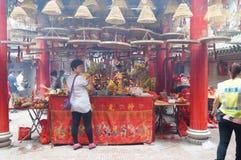 Shenzhen, China: temple to burn incense to worship Royalty Free Stock Photo