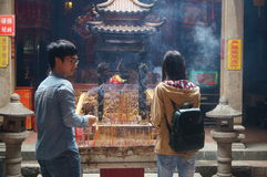 Shenzhen, China: temple to burn incense Stock Photography