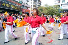 Shenzhen china: temple worship activities. In March 19th, 2012, Shenzhen Xixiang pedestrian street, Pak Tai Temple worship activities. People took to the streets Royalty Free Stock Images