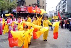 Shenzhen china: temple worship activities. In March 19th, 2012, Shenzhen Xixiang pedestrian street, Pak Tai Temple worship activities. People took to the streets Stock Photos