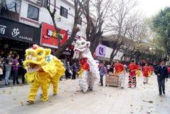 Shenzhen china: temple worship activities. In March 19th, 2012, Shenzhen Xixiang pedestrian street, Pak Tai Temple worship activities. People took to the streets Royalty Free Stock Photo
