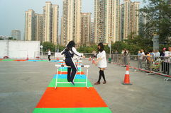 Shenzhen, China: toe pressing challenge activities Stock Photos