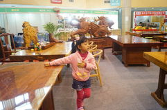 Shenzhen, China: Traditional Culture Festival Woodcarving Exhibition Sales Royalty Free Stock Photo