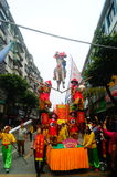 Shenzhen, China: traditional folk piaose parade activities, children wearing ancient costumes volley dance, very beautiful Stock Photo
