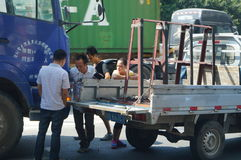 Shenzhen, China: traffic accident caused traffic jams Royalty Free Stock Photos